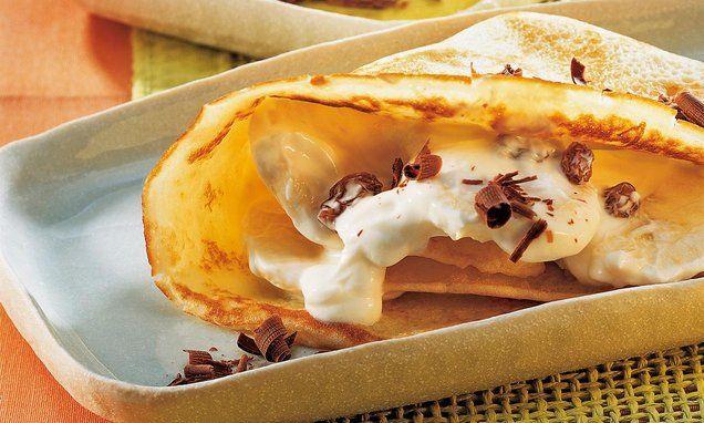 Crêpes mit Quark-Bananen-Füllung
