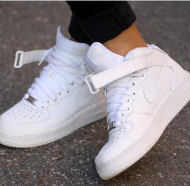 shoes nike sporty style white, high tops, nike white high ...