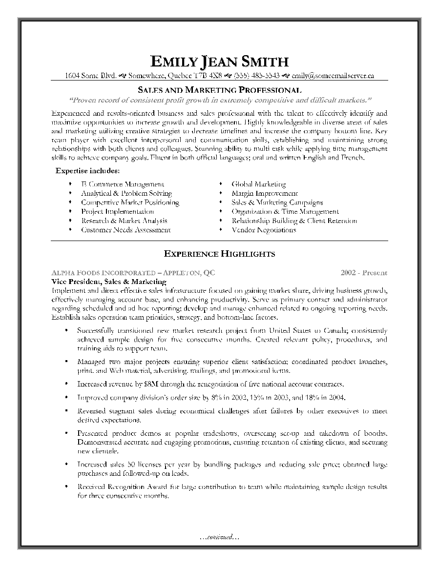 sales and marketing resume sample page