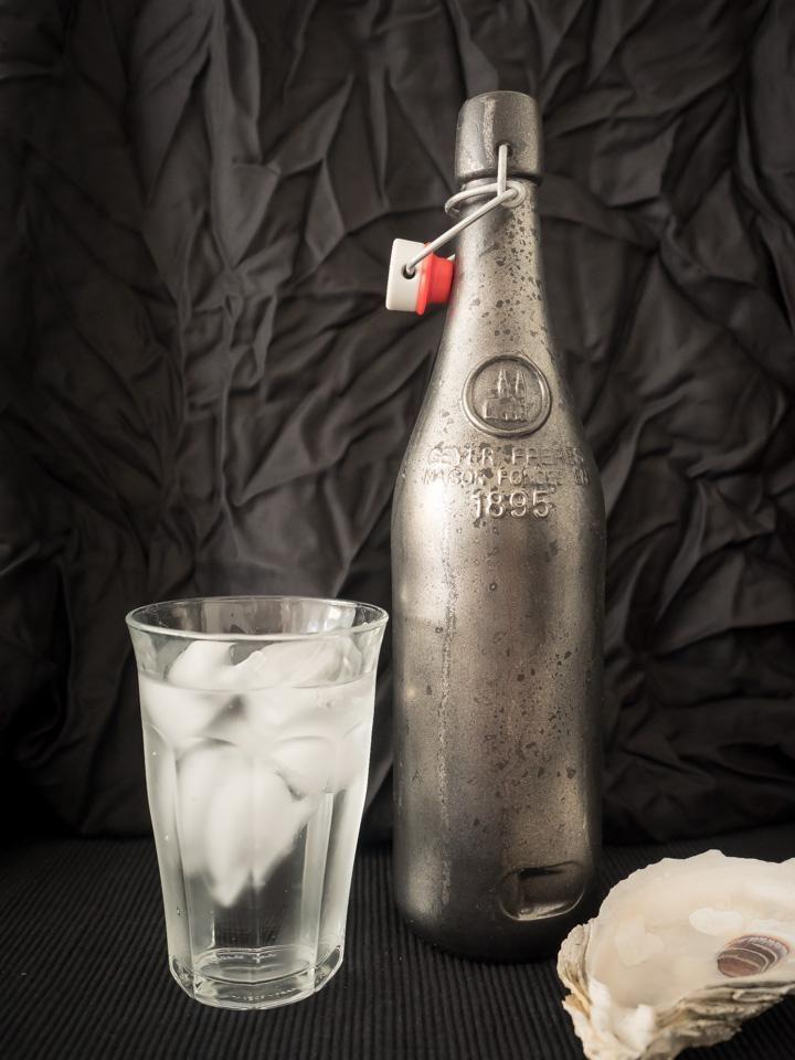 Faux Mercury Glass Bottle