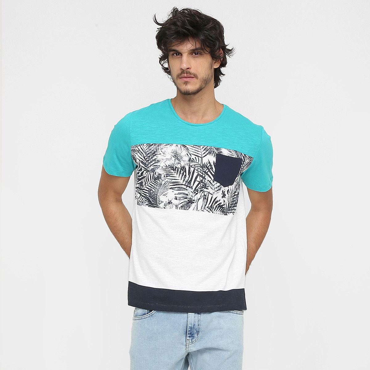 3b810ff9c Camiseta Colcci Estampada Tropical Bolso Off White e Azul