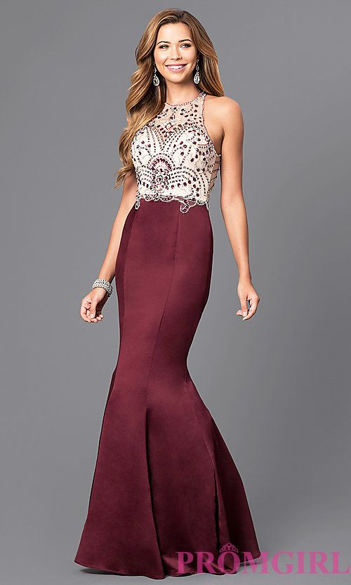 Image Of Long Beaded Bodice Prom Dress With Back Cut Outs Style Dq