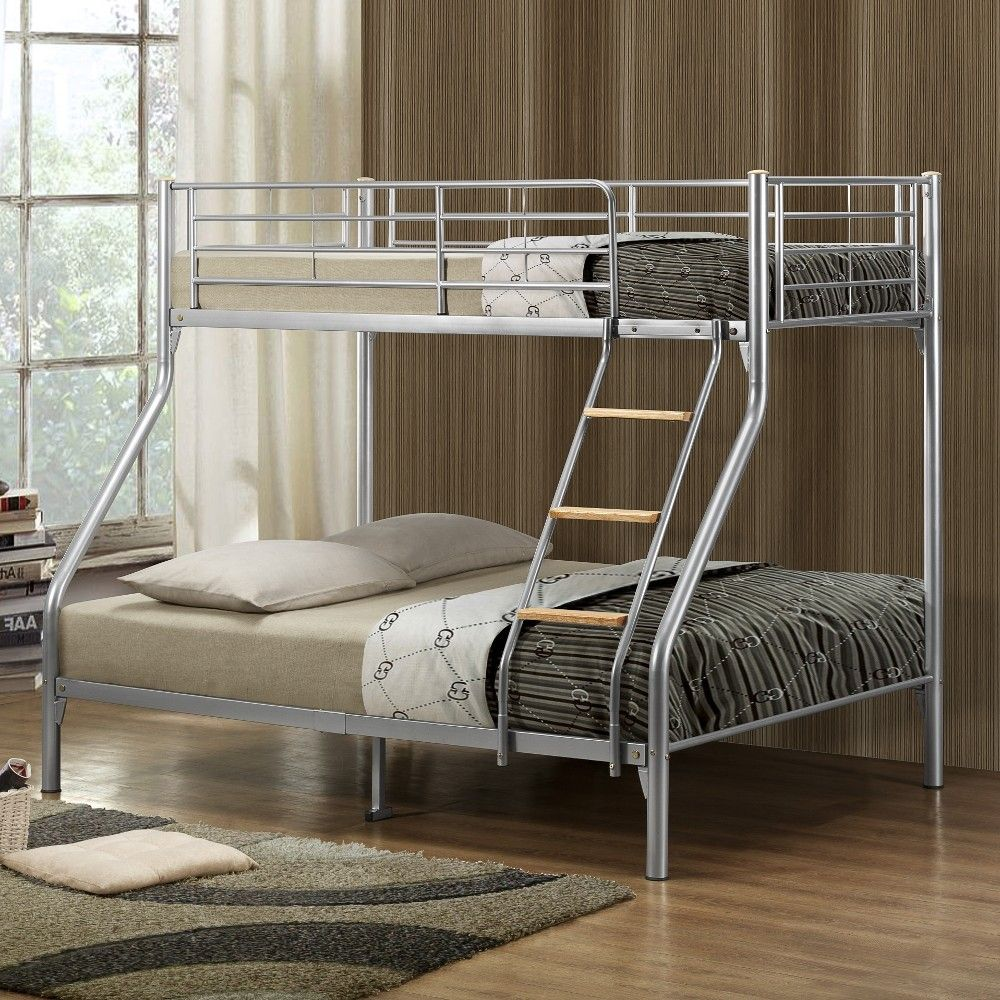 Nexus Silver Finish Metal Triple Sleeper Bunk Bed Metal