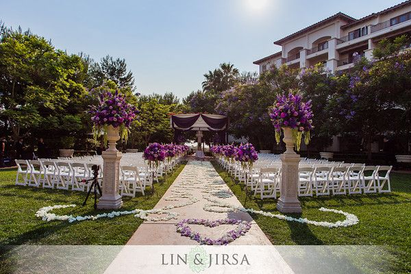 Wedding Ceremony St Regis Monarch Beach Pacific Lawn Flowers By White House Florist In Bellflower Ca Outdoor Wedding Grey Purple Wedding Wedding