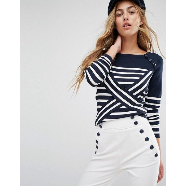 Tommy Hilfiger TommyxGigi Cross Over Stripe Knit Jumper ($150) ❤ liked on Polyvore featuring tops, sweaters, tommy hilfiger, tommy hilfiger tops and tommy hilfiger sweater