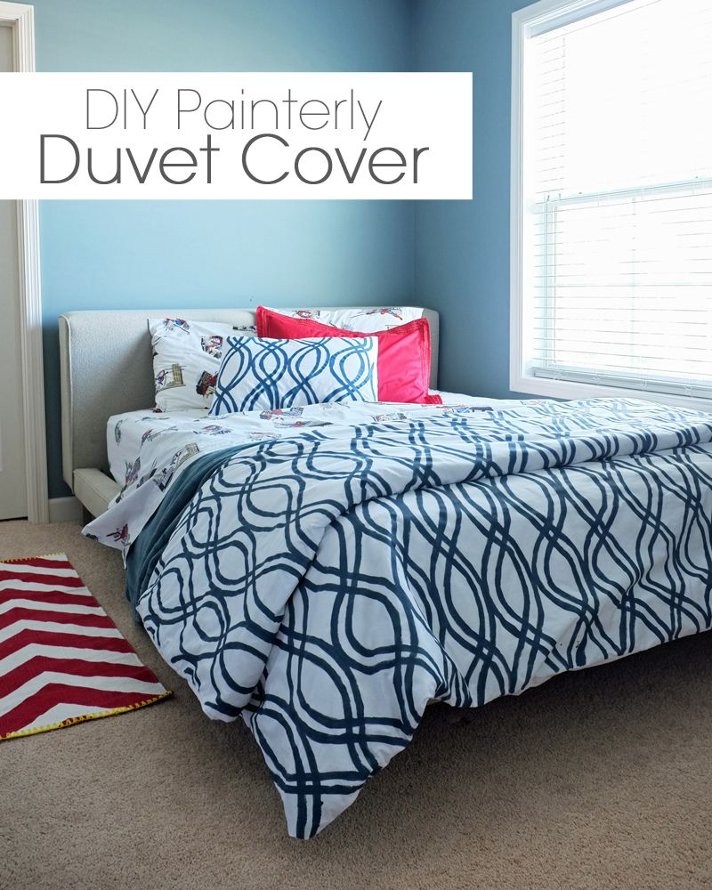 DIY Painterly Duvet Cover on 4 Men, 1 Lady