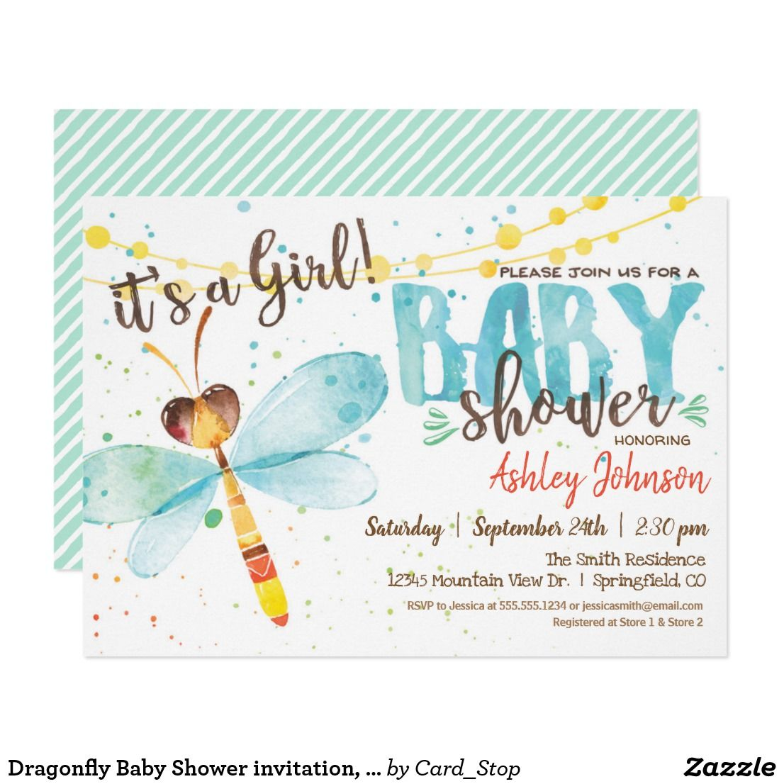 Dragonfly Baby Shower Invitation Girl