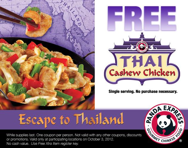 Panda Express Free Thai Cashew Chicken 10 3 Thai Cashew Chicken Cashew Chicken Chicken Entrees