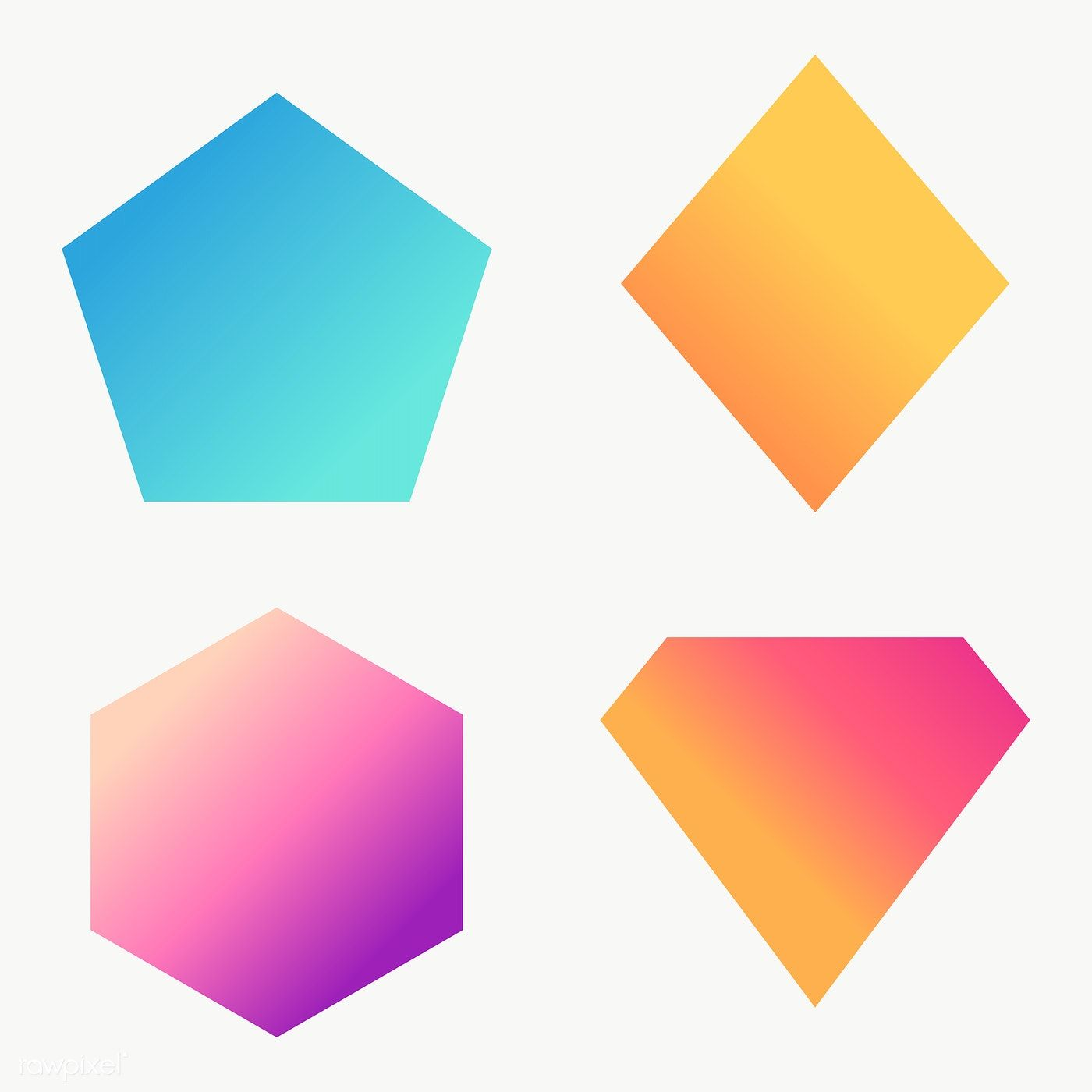 Colorful Gradient Geometric Shapes Set Transparent Png Free Image By Rawpixel Com Ningzk V Geometric Shapes Printable Designs Geometric