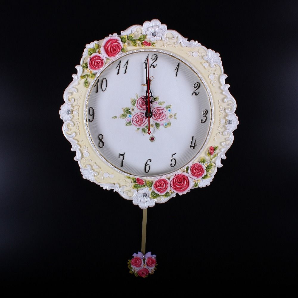 Large european antique resin math spoon fork knife wall art clock