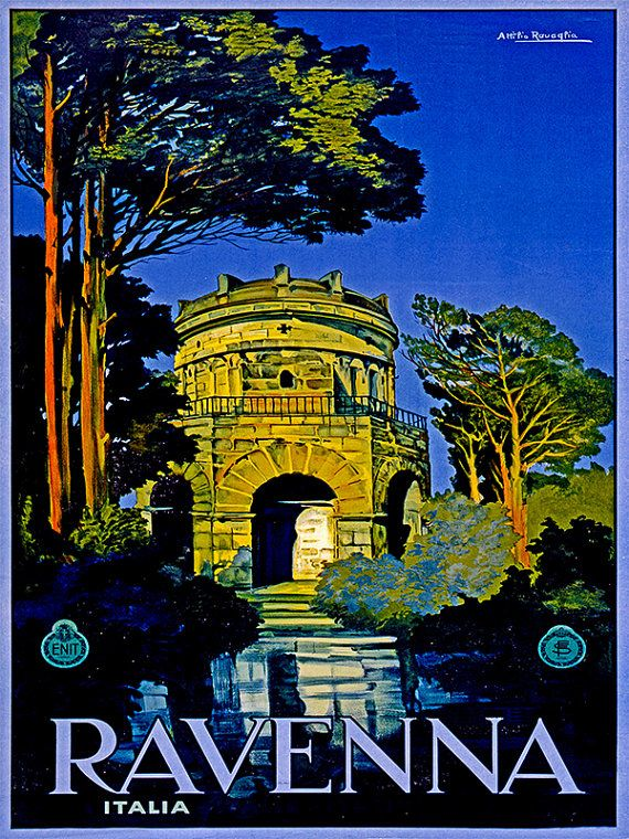 Art Italy Travel Poster Ravenna Vintage Print By Blivingstons