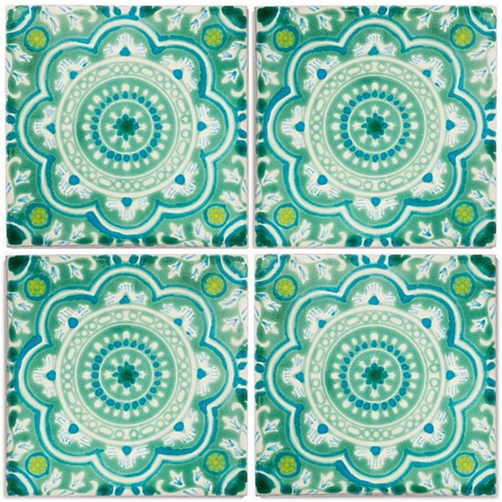 Hochwertige Handbemalte Dekorfliesen Aus Mexiko Von Mexambiente Minze Grun Turkis Aqua Grun 11x11 Und 15x15 Cm Fl Dekorfliesen Fliesen Mexikanische Fliesen