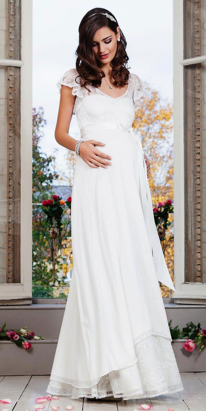 Maternity dress for wedding guest  Lace Cap Sleeve Silk Chiffon Maternity Dress Bridal Gowns  Weddings