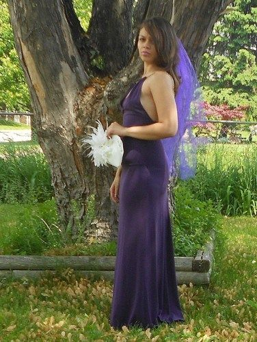 Purple Wedding Veil Two Layer Butterfly French Barrette