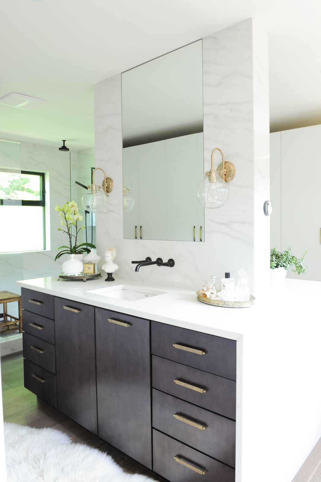 Bathroom vanities boca raton fl - His And Her Vanity Island Marble Tile Wall Mounted Faucets Waterfall Counter