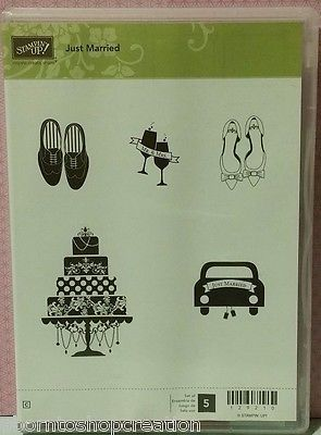 Stampin Up! Retired JUST MARRIED CM Rubber Stamp Set NEW!