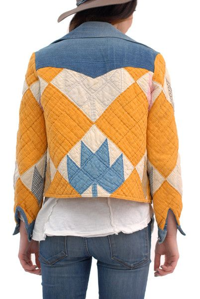 Swedish Girl Quilted Patchwork Denim Jacket. Originally spotted at Spanish Moss Vintage