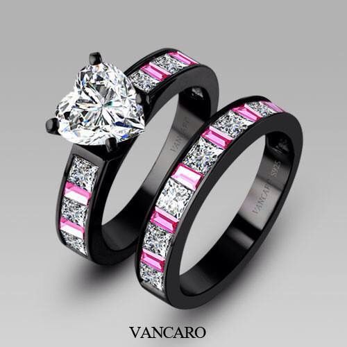 Engagement Ring And Wedding Band It S So Pretty 1 More Month Counting Down The Days Black Wedding Ring Sets Black Engagement Ring Black Wedding Rings