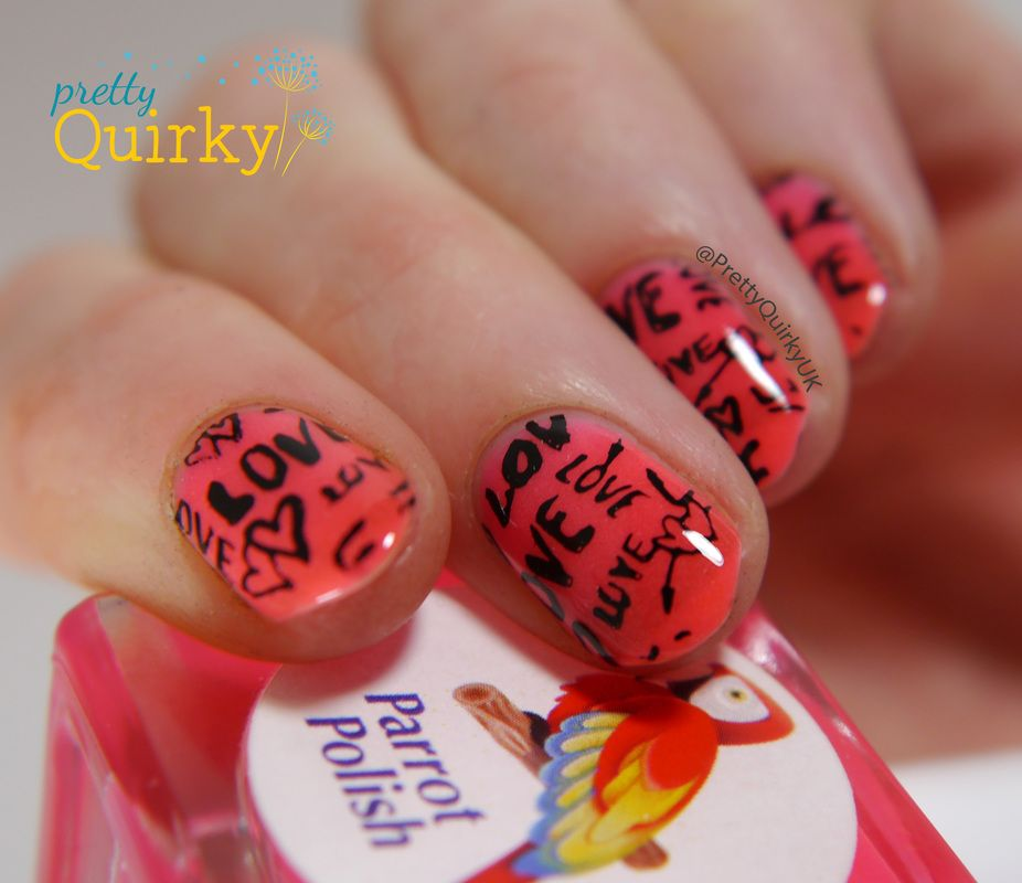 Love nails stamped with an image from Apipila Super Placa A over Parrot Polish Hot Lips