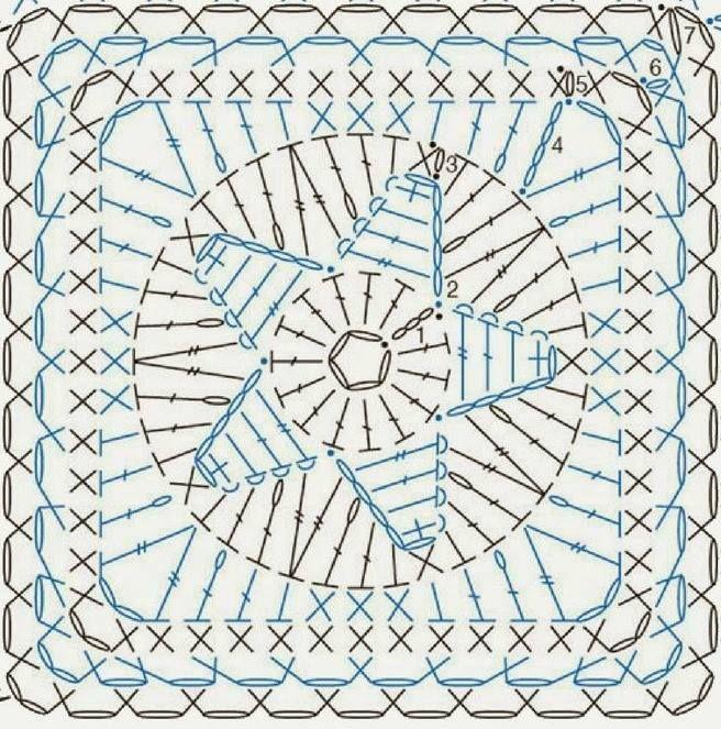 quadrato stella centrale | Crocheted | Pinterest | Ganchillo ...