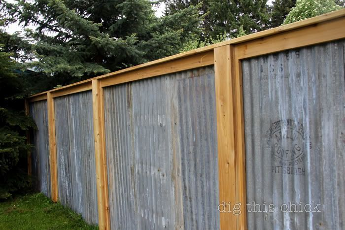 Corrugated metal privacy fence-- this would be beautiful with shrubs