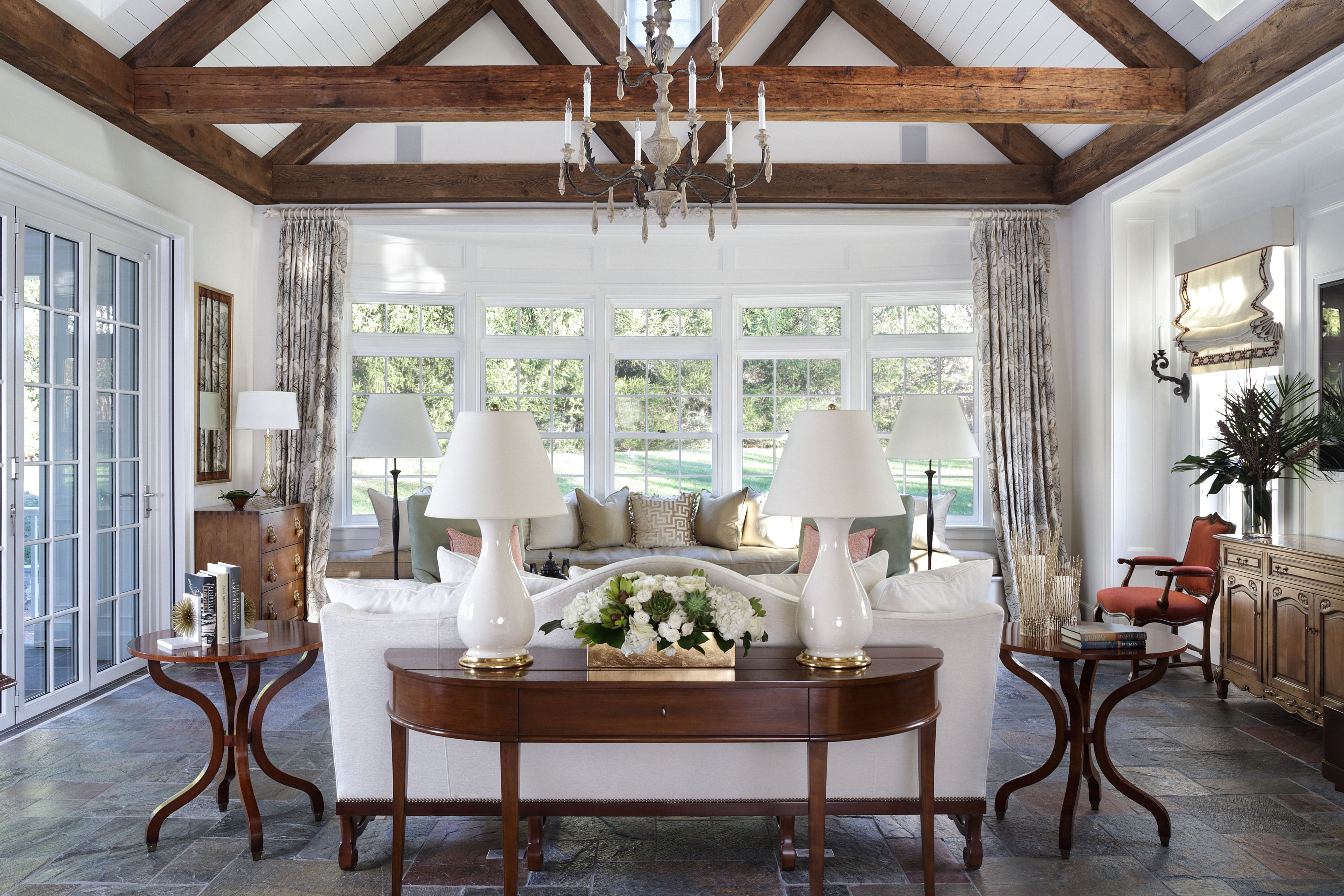 Window ideas for a sunroom  sunroom claved slate floor reclaimend beamswindow seatnano door