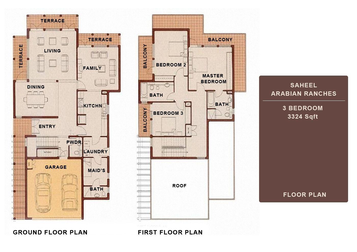 3 bedroom saheel arabian ranches dubai floor plans for Dubai house floor plans