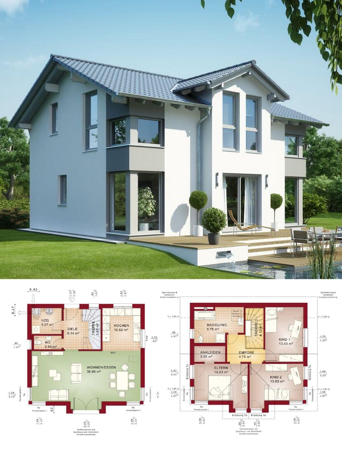 AuBergewohnlich Einfamilienhaus Mit Satteldach U0026 Querhaus   Haus Bauen Grundriss Fertighaus  Evolution 125 V4 Bien Zenker Hausbau