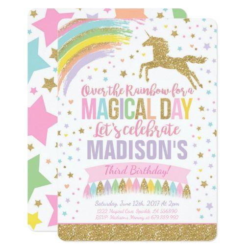 Unicorn Birthday Invitation Pink Gold