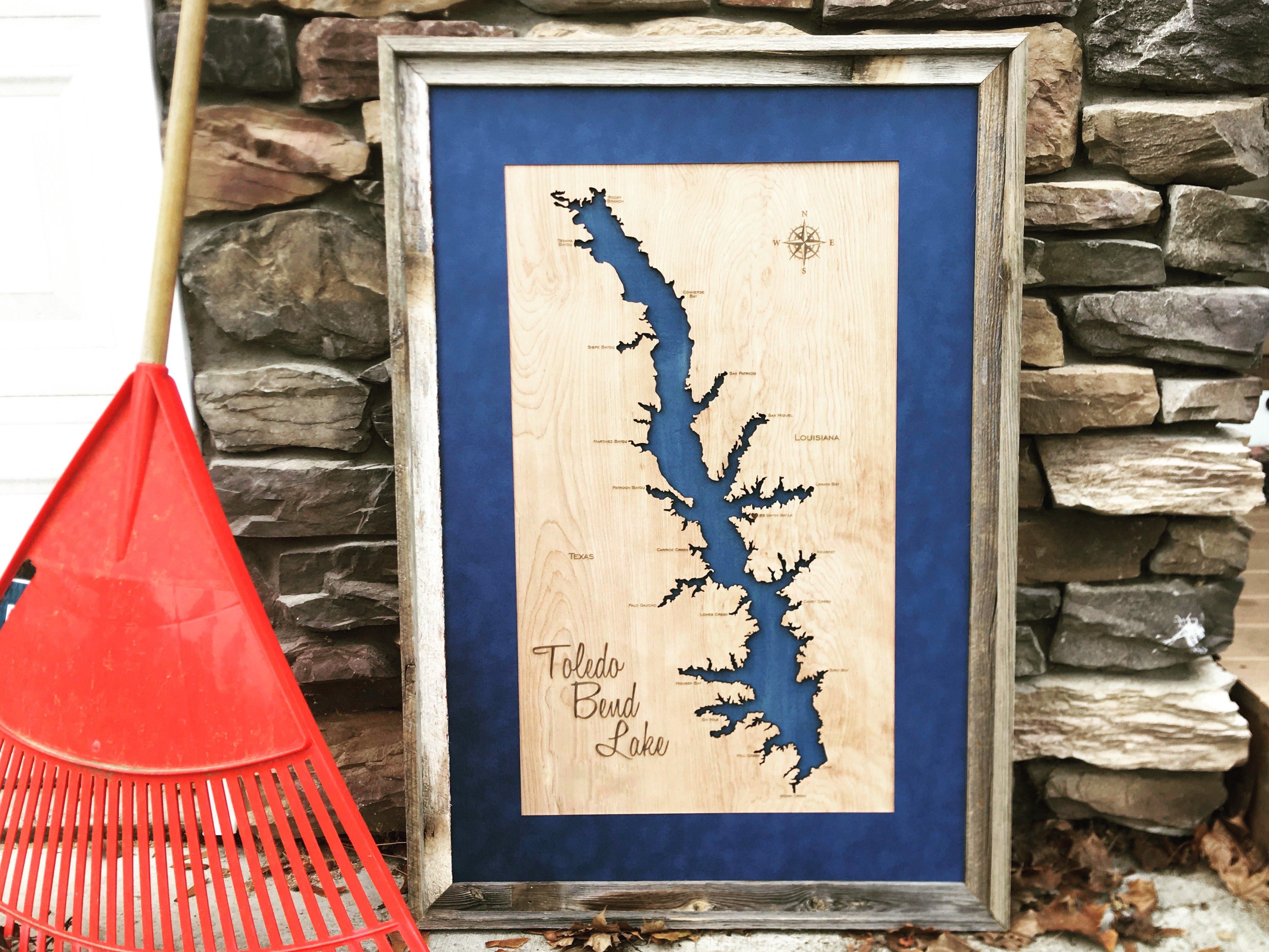 Wood Laser Cut Map of Toledo Bend Lake TX LA