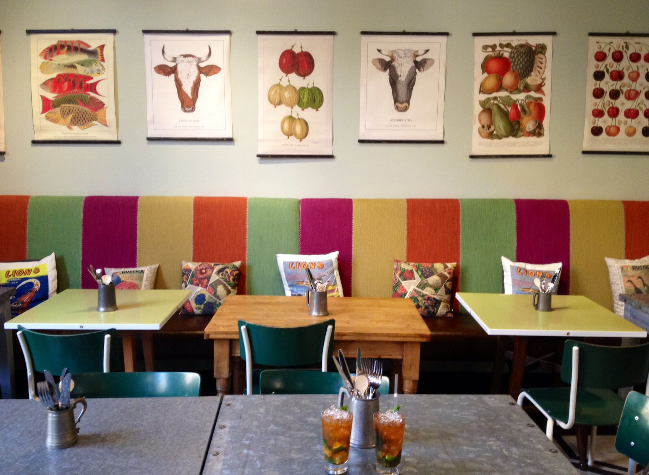 Bright colours, good pictures at 'The Cyclist' bar in Brighton station.