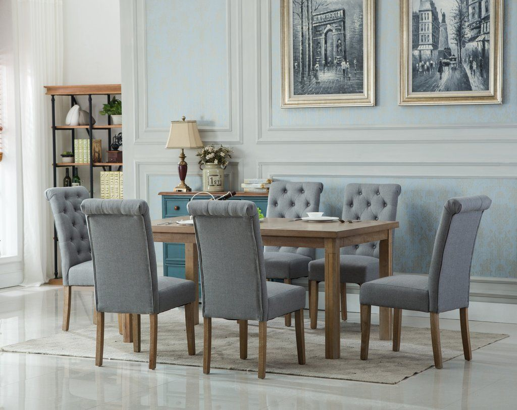 Monotanian Solid Wood Dining Table With 6 Tufted Chairs Gray Amusing Dining Room Sets Solid Wood Decorating Design