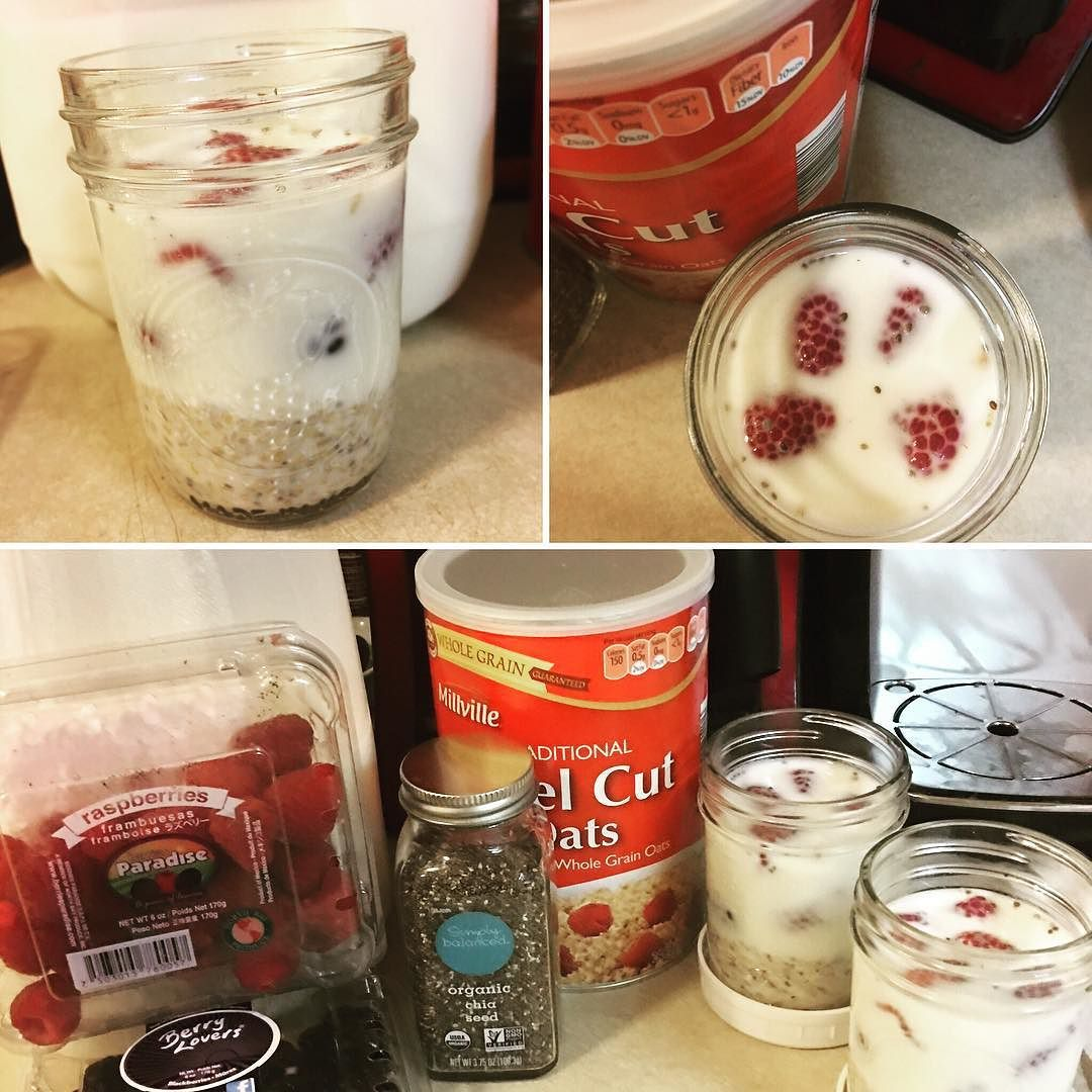 Made refrigerator oats with #chia seeds #raspberries & #blueberries for #breakfast tomorrow. I am excited. | #yum #healthy #fastgoodfood