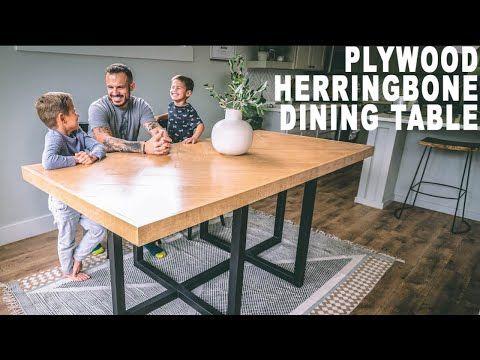 DIY Plywood Herringbone DinningTable - YouTube