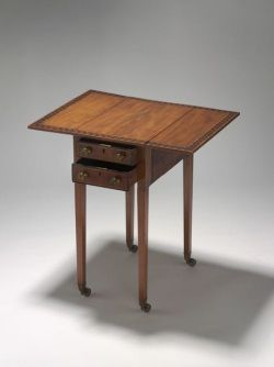 Rectangular Wooden Table With Fold Down Side Leaves The Features Narrow Inlaid Ivory Borders Including A Wide Border Of Contrasting