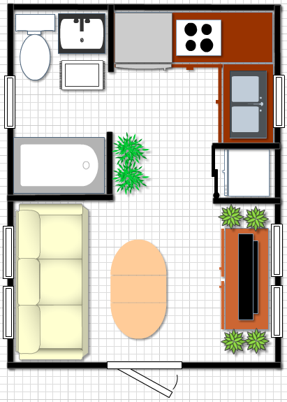 Tiny home plan 12x16 with mobile home size tub full size for 12x16 kitchen plans