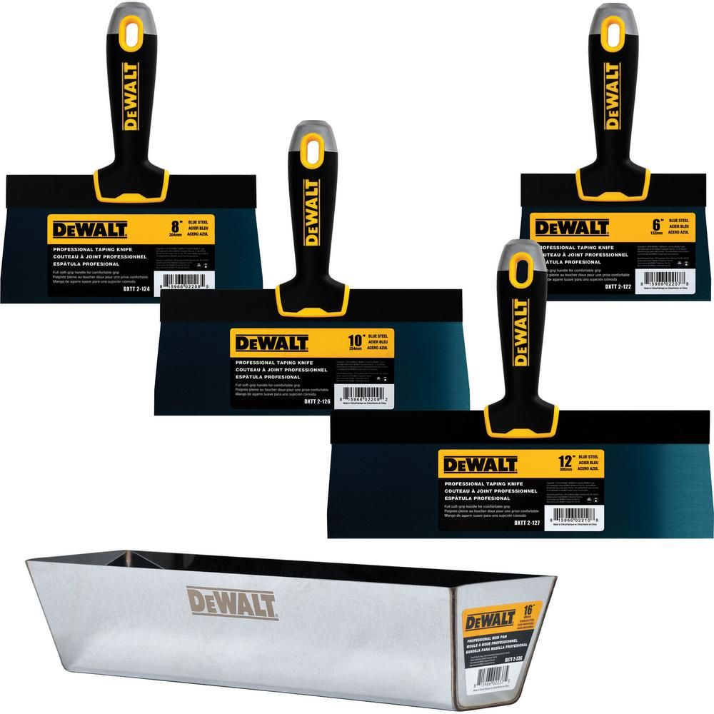 Dewalt Blue Steel Taping Knife And Pan Set With Soft Grip Handles Work Tools Power Hand Tools Stainless Steel