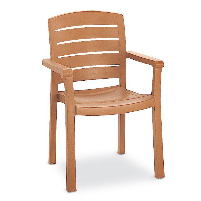 Acadia Stacking Teakwood Armchair With Horizontal Slats, Carton Of 4   Pool  U0026 Patio Furnishings