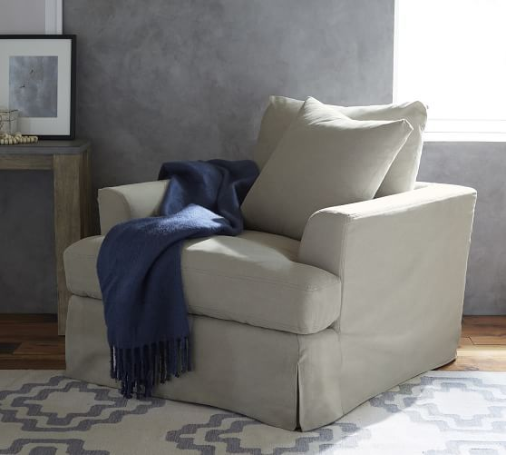 Sullivan Fin Arm Deep Seat Slipcovered Armchair Pottery