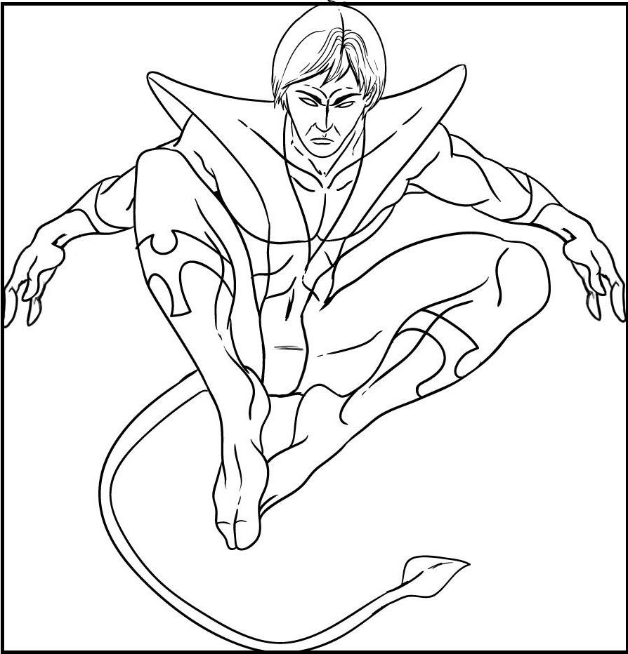 Cartoon Xmen Nightcrawler coloring picture for kids