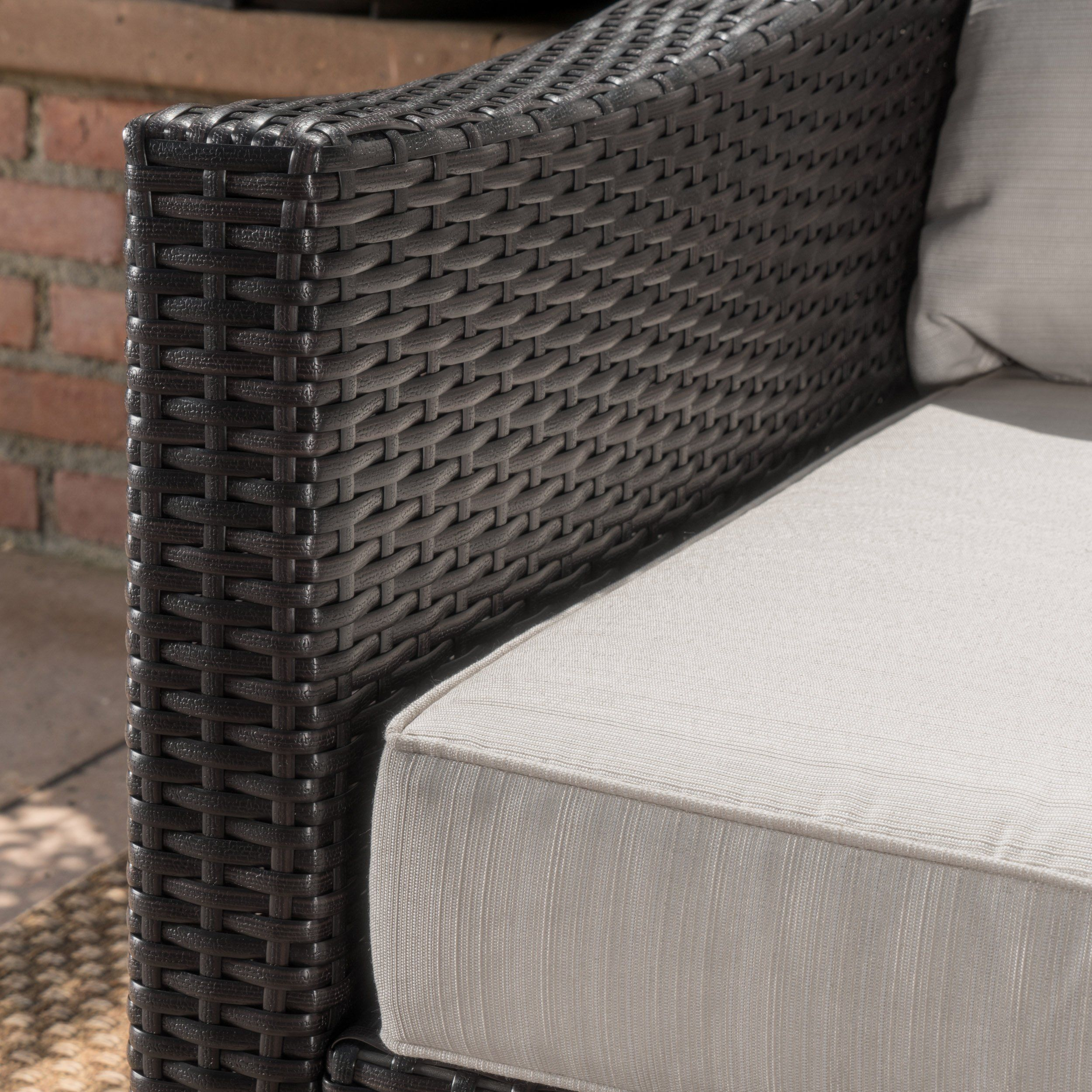 Caspian Outdoor L Shaped Grey Wicker Sectional Sofa Set With