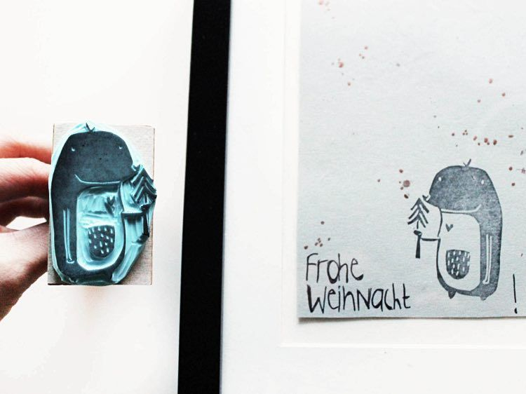 diy anleitung maulwurf stempel selber machen via weihnachtskarten selber machen. Black Bedroom Furniture Sets. Home Design Ideas