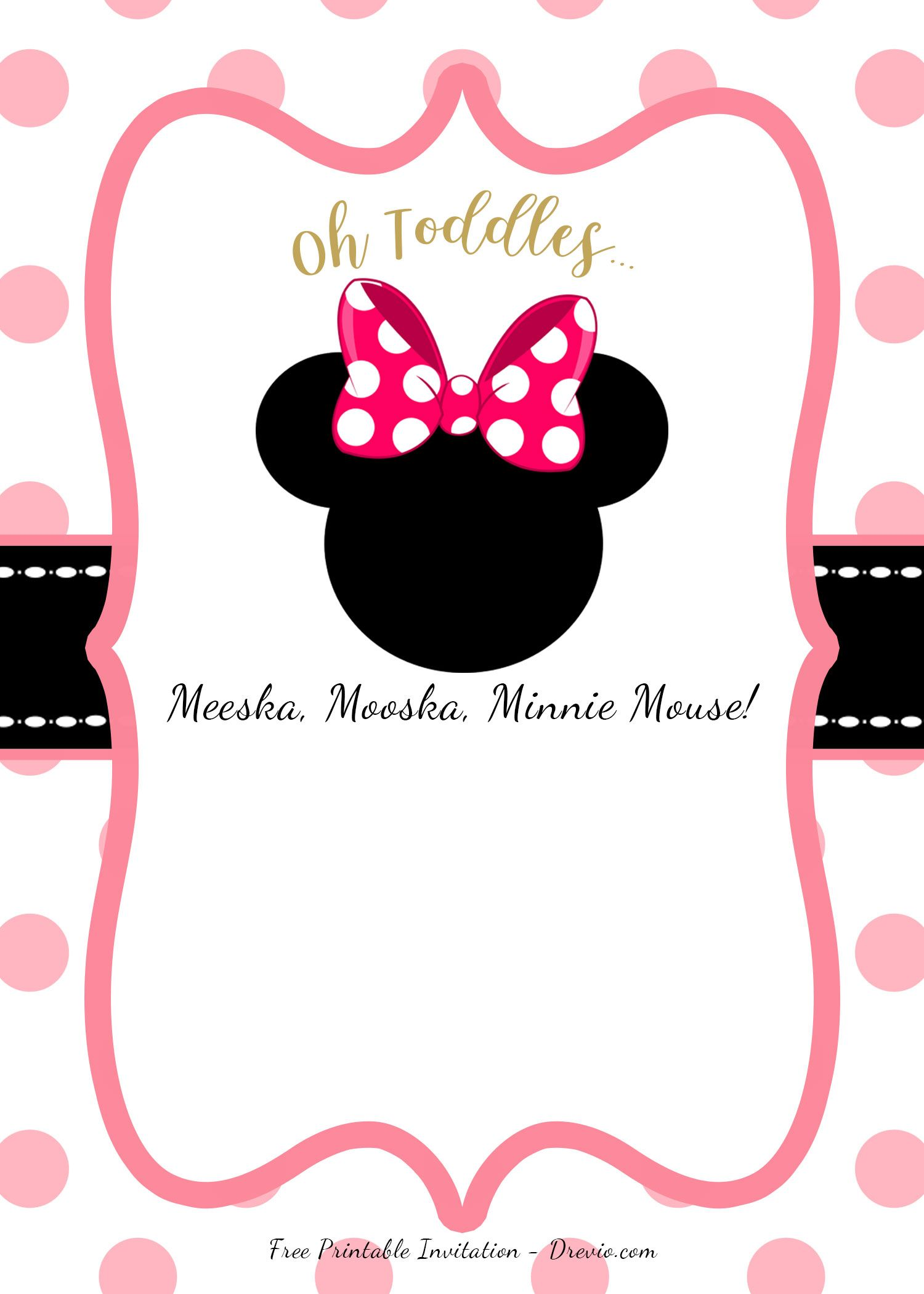 FREE Pink Minnie Mouse Birthday Party DIY Printable Invitation ...