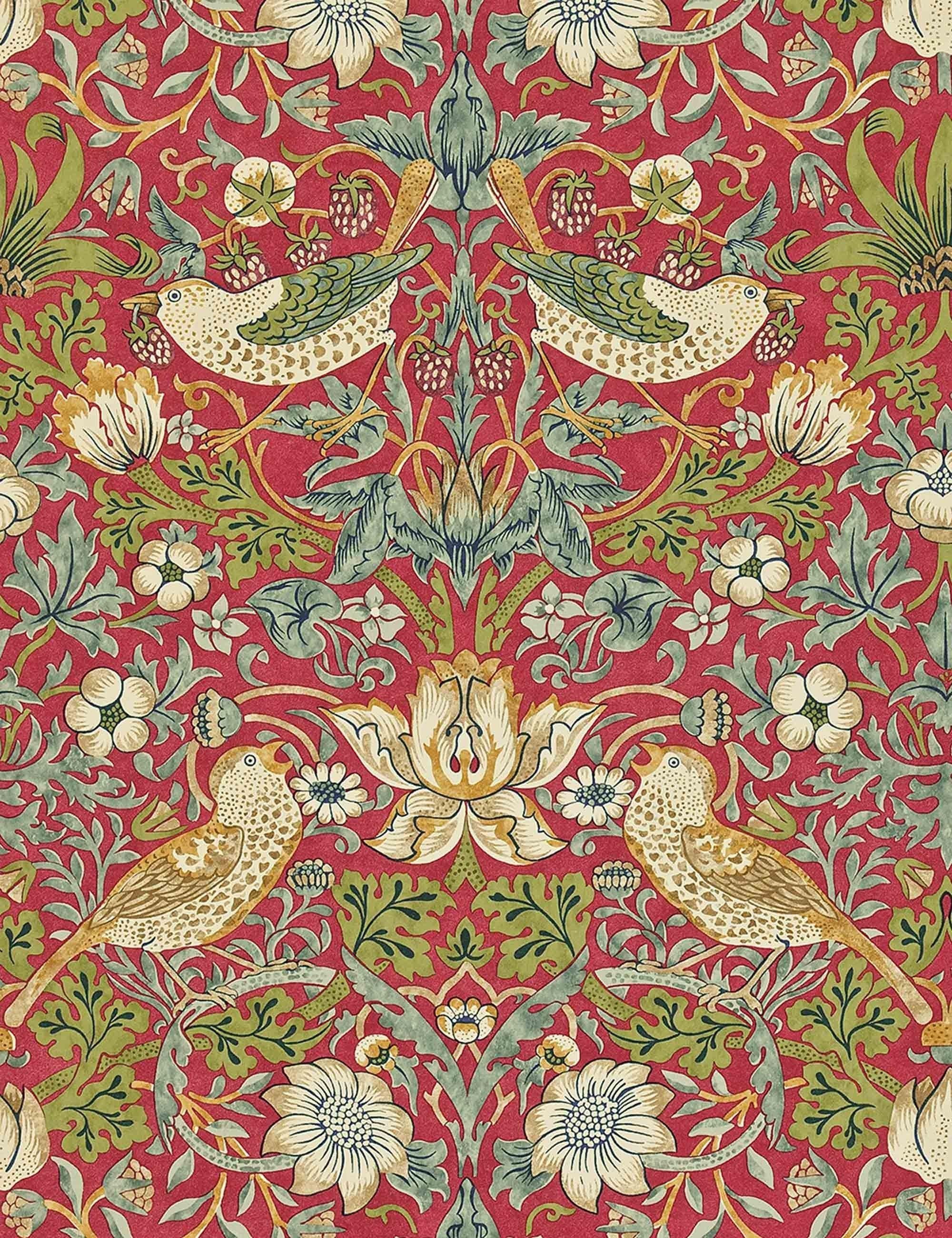 Morris & Co. Strawberry Thief Wallpaper, Crimson/Slate in