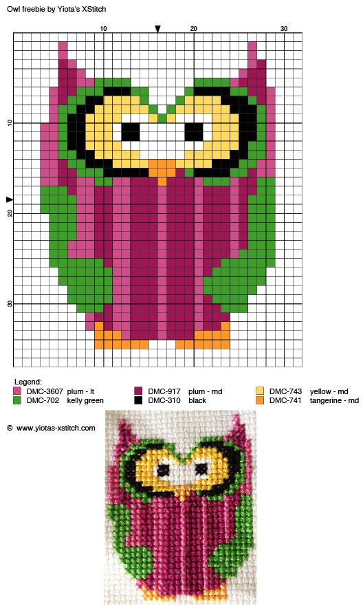 Owl free cross stitch pattern | cenefas en punto de cruz | Pinterest ...