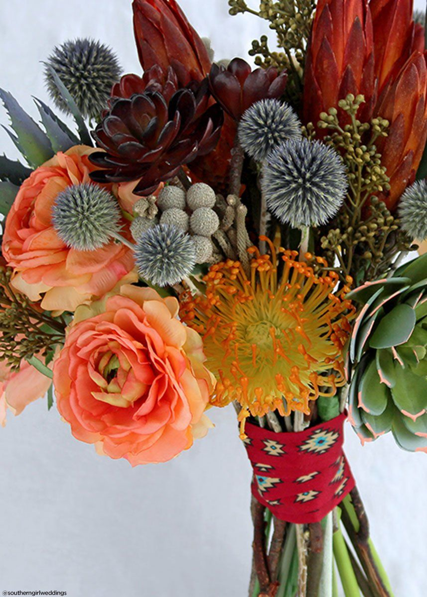 Plastic Open Needle Protea Flower In Orange Yellow 27 Tall In 2020 Wood Flowers Tropical Floral Arrangements Bridal Bouquet Fall