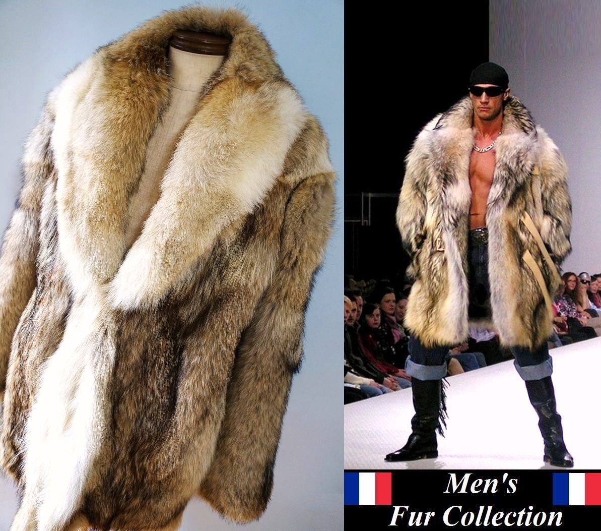 In the men's prairie wolf fur fur coat ○ men fur / animal ...