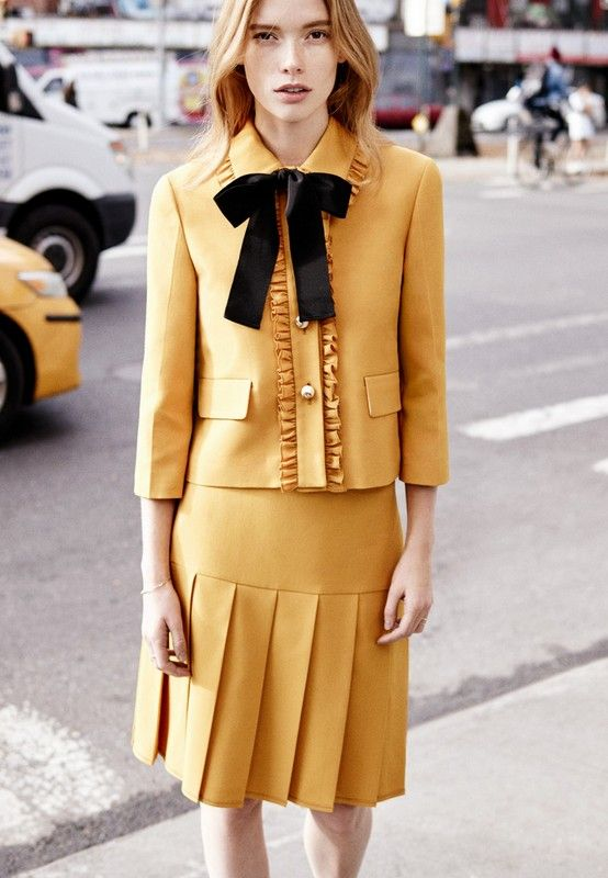 Julia Hafstorm with Jacket and Skirt by Gucci
