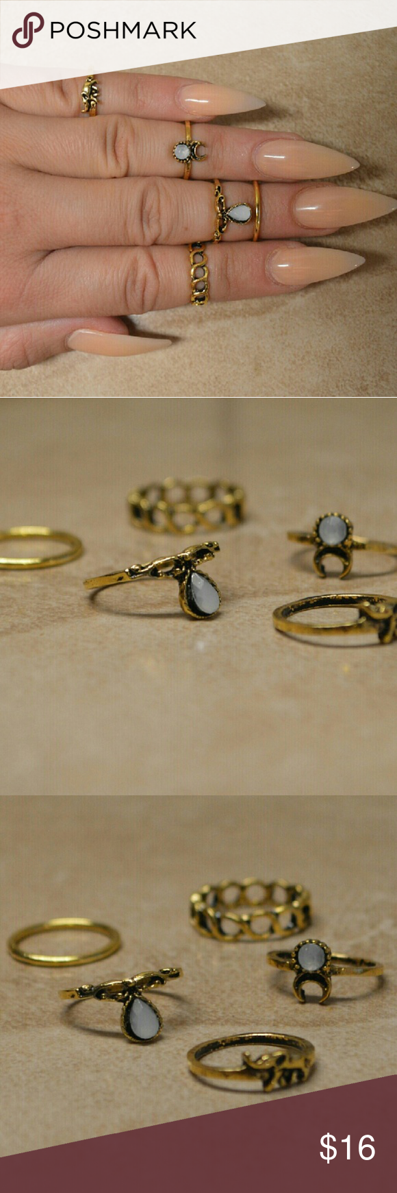 Brand New Set of 5 Bohemian Hippie Gold Rings Brand New Set of 5 Bohemian Hippie Gold Rings  Comes with five adorable gold rings. Great for stacking to create a Boho chic look or wearing alone. Look great as midi or knuckle rings or wear each as a more traditional ring.  Different designs including Gypsy, geometric, floral, stone, etc.   Mixed sizes 5 and 6. Jewelry Rings