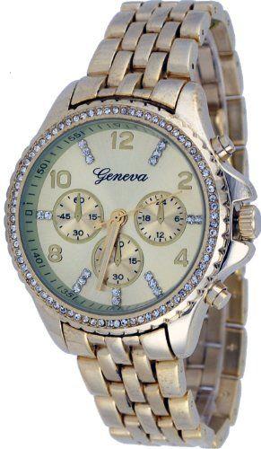 Geneva #1628-G Women's Fashion Accessory Gold Tone Rhinestone Accented Bracelet Watch -